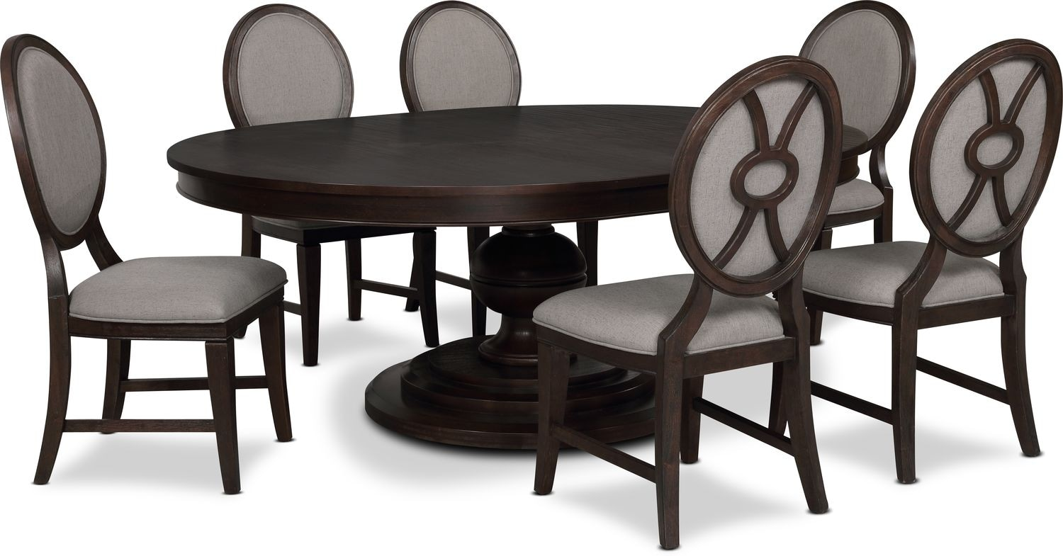 Dining Room Furniture - Wilder Round Dining Table and 6 Upholstered Chairs