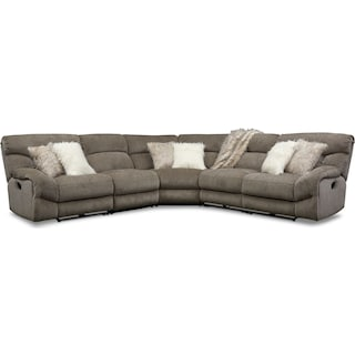 Wave 5-Piece Manual Reclining Sectional with 3 Reclining Seats and Recliner