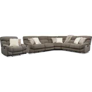 Wave 5-Piece Manual Reclining Sectional with 2 Reclining Seats and Recliner