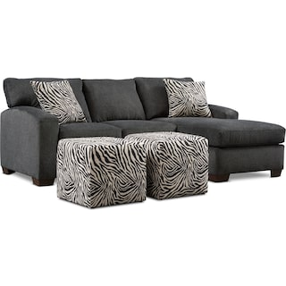 Nala 2-Piece Sectional with Chaise and 2 Cube Ottomans - Gray