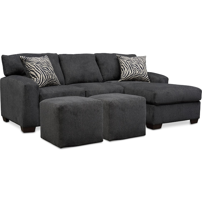 Living Room Furniture - Nala 2 Piece Sectional Chaise and 2 Solid Cube Ottomans