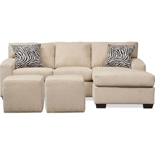 Nala 2 Piece Sectional Chaise and 2 Solid Cube Ottomans