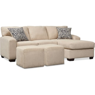 Nala 2 Piece Sectional Chaise and 2 Cube Ottomans - Beige
