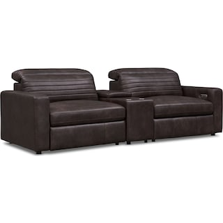Hunter 3-Piece Dual-Power Reclining Sofa with Console - Brown