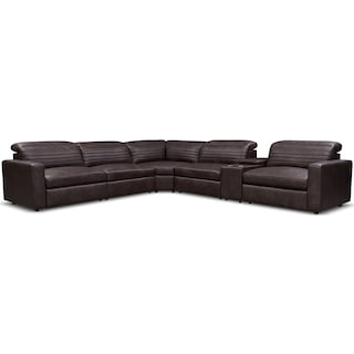 Hunter 6-Piece Dual-Power Reclining Sectional with 4 Reclining Seats