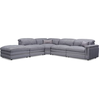 Revel 4-Piece Dual-Power Reclining Sectional with Ottoman and 2 Reclining Seats