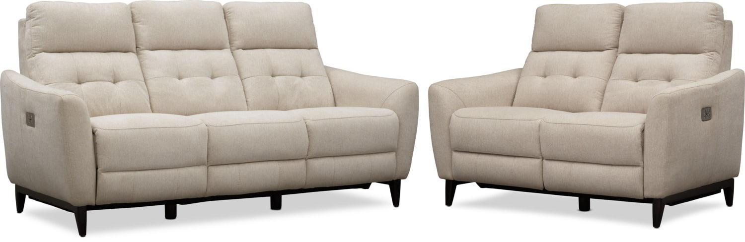 Hayes Dual Power Reclining Sofa And Loveseat Set