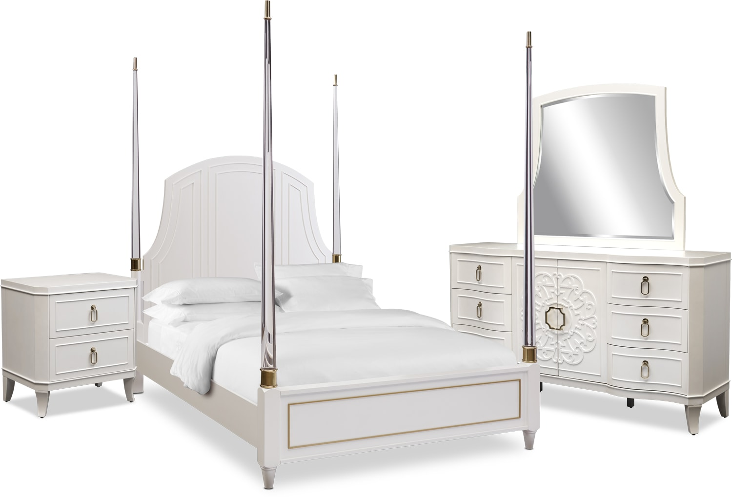 Bedroom Furniture - Isabel 6-Piece Post Bedroom Set with Nightstand, Dresser and Mirror