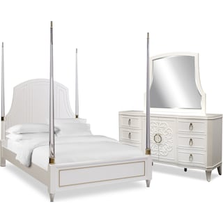 Isabel 5-Piece Post Bedroom Set with Dresser and Mirror