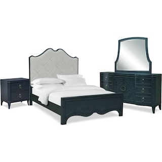 Isabel 6-Piece Queen Upholstered Bedroom Set with Nightstand, Dresser and Mirror - Midnight Blue