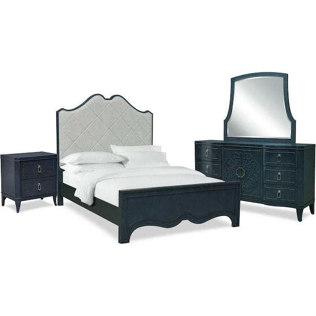 Bedroom Furniture - Isabel 6-Piece Upholstered Bedroom Set with Nightstand, Dresser and Mirror