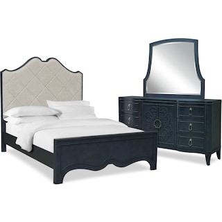Isabel 5-Piece Upholstered Bedroom Set with Dresser and Mirror