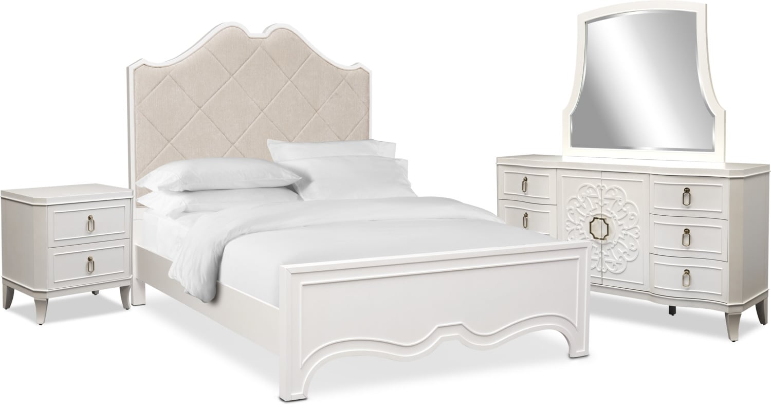 Bedroom Furniture - Isabel 6-Piece Upholstered Bedroom Set with Nightstand, Dresser and Mirror