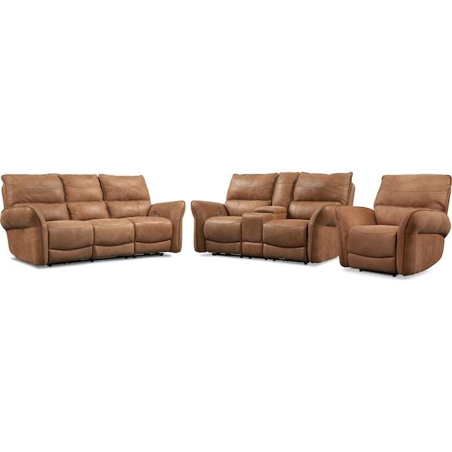 Living Room Furniture - Aspen Dual-Power Reclining Sofa, Loveseat and Recliner