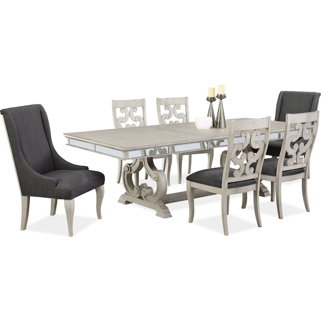 Dining Room Furniture - Athena Dining Table with 4 Side Chairs and 2 Host Chairs