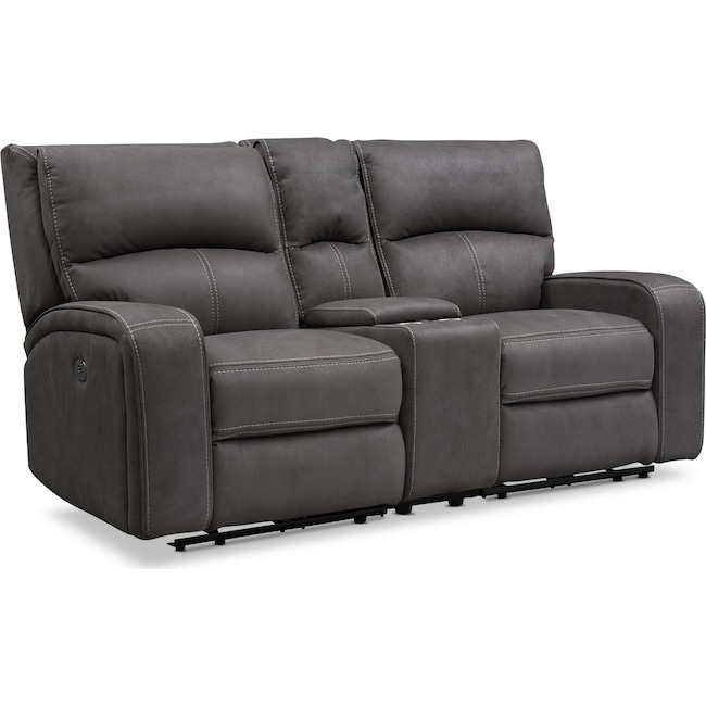 Living Room Furniture - Burke Dual-Power Reclining Loveseat with Console - Charcoal