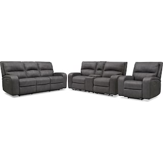 Burke Dual-Power Reclining Sofa, Loveseat with Console and Recliner - Charcoal