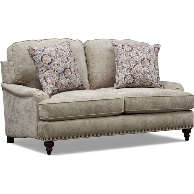 Living Room Furniture - London Loveseat - Gray