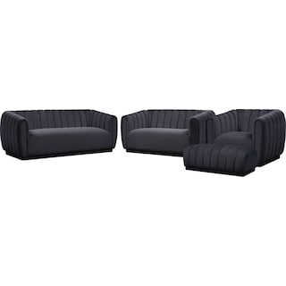 Primm Sofa, Loveseat, Chair and Ottoman - Black