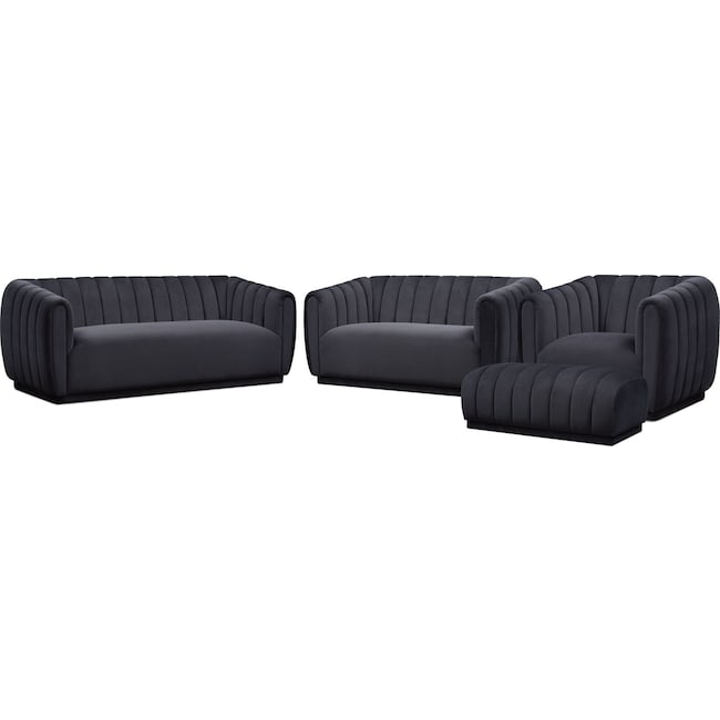 Living Room Furniture - Primm Sofa, Loveseat, Chair and Ottoman