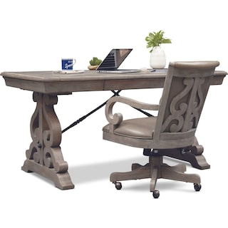 Charthouse Office Desk and Chair Set - Gray