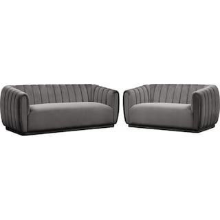 Primm Sofa and Loveseat Set - Gray