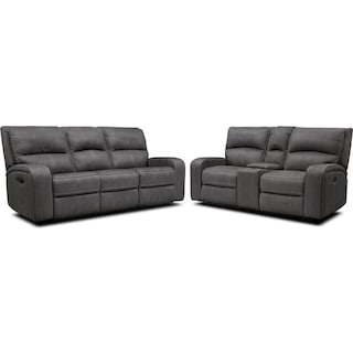 Burke Manual Reclining Sofa & Loveseat with Console - Charcoal