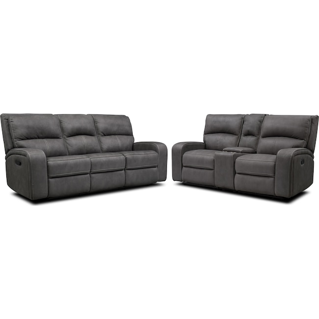 Living Room Furniture - Burke Manual Reclining Sofa and Loveseat with Console
