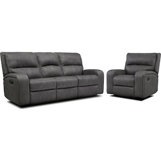 Burke Manual Reclining Sofa & Recliner Set - Charcoal