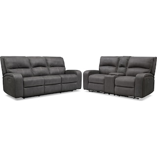 Burke Dual-Power Reclining Sofa and Loveseat with Console - Charcoal