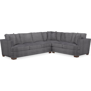 Arden Comfort 2 Piece Sectional with Left-Facing Sofa - Living Large Charcoal