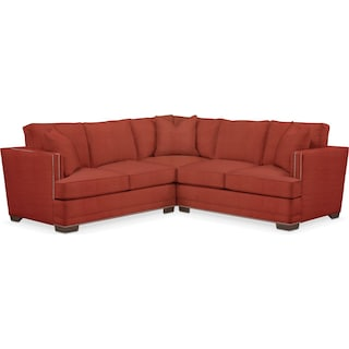 Arden Comfort 2 Piece Sectional with Right-Facing Loveseat - Modern Velvet Cayenne