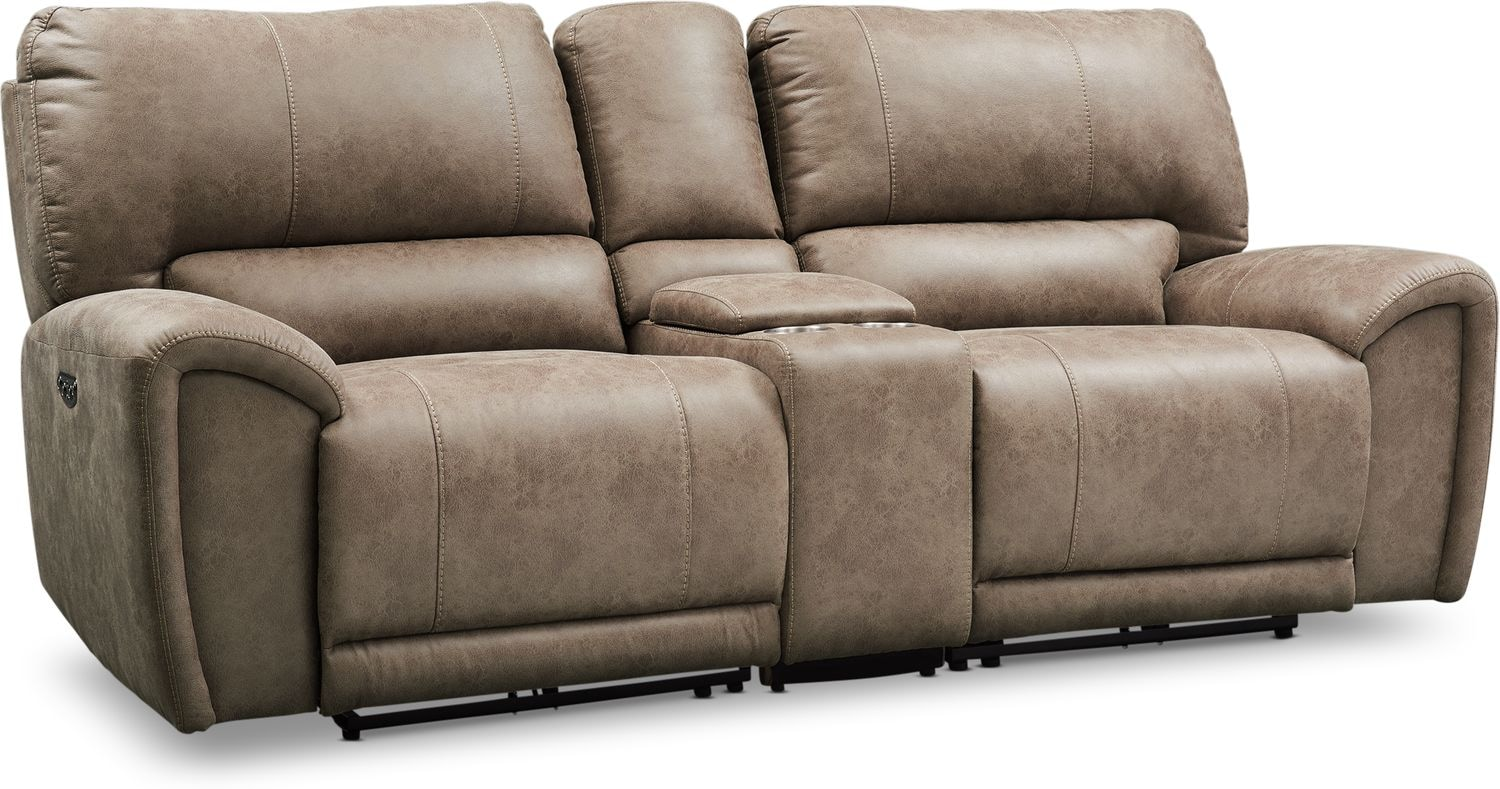 Living Room Furniture - Gallant 3-Piece Dual-Power Reclining Sofa with Console
