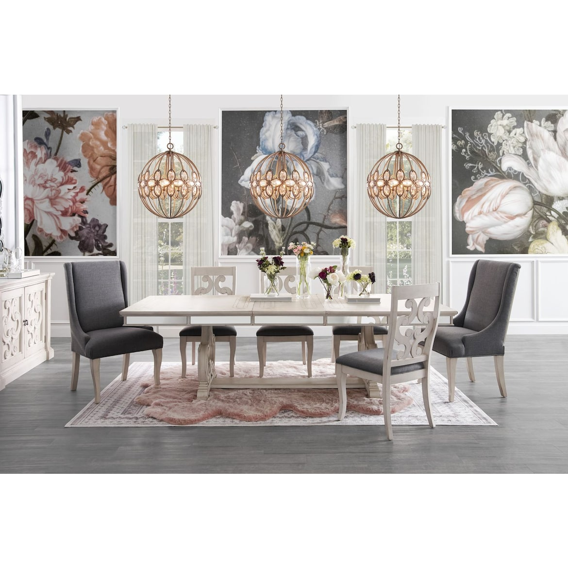 American First Finance Furniture Stores Merced: Athena Dining Table, 4 Dining Chairs And 2 Host Chairs