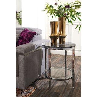 Charisma Marble End Table - Black and Chrome