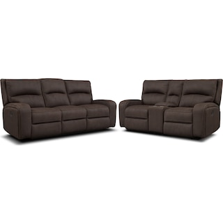 Burke Manual Reclining Sofa & Loveseat with Console - Brown
