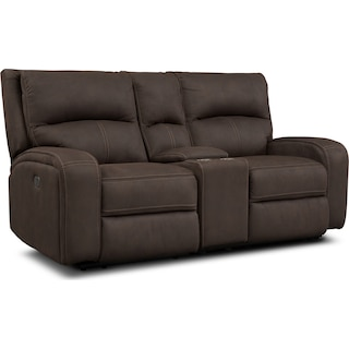 Burke Dual Power Reclining Loveseat with Console - Brown
