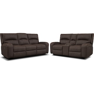 Burke Power Reclining Sofa & Loveseat with Console - Brown