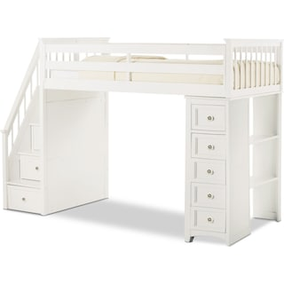 Flynn Twin Loft Bed with Storage Stairs and Chest - White
