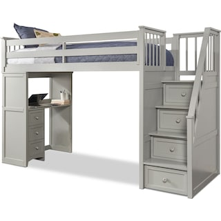 Flynn Twin Loft Bed with Storage Stairs and Desk- Gray