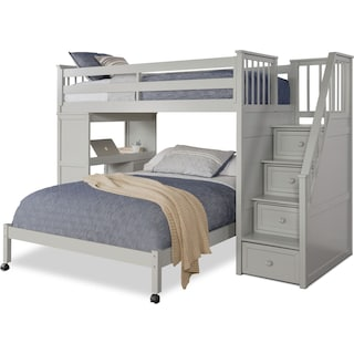 Flynn Twin over Full Loft Bed with Storage Stairs and Desk - Gray