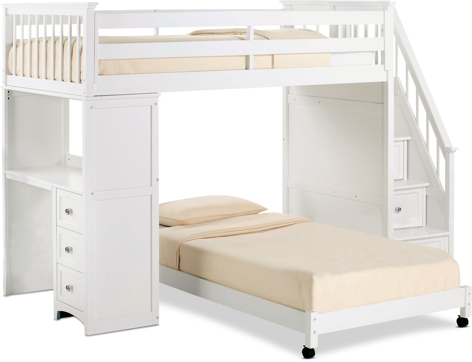 Flynn Loft Bed With Storage Stairs And Desk American Signature