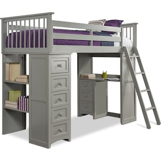 Flynn Twin Loft Bed with Desk and Chest - Gray