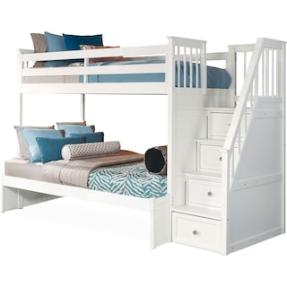 Flynn Twin over Full Bunk Bed with Storage Stairs - White