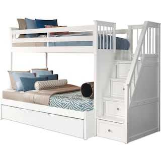 Flynn Twin over Full Trundle Bunk Bed with Storage Stairs - White