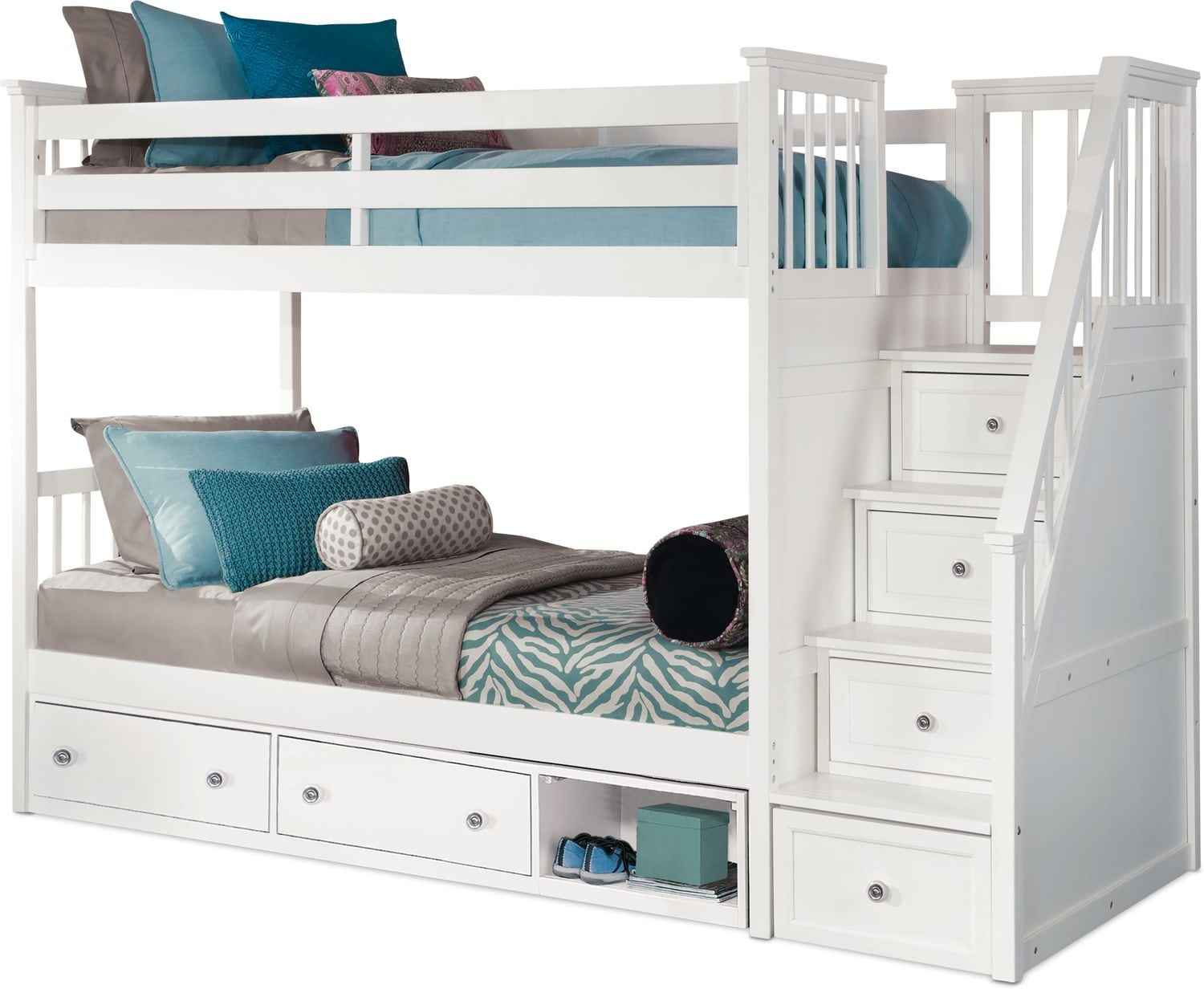 Bed Over Stair Box With Storage And Stairs: Flynn Storage Bunk Bed With Storage Stairs