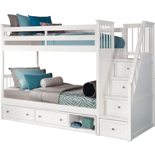 Flynn Twin over Twin Storage Bunk Bed with Storage Stairs  - White