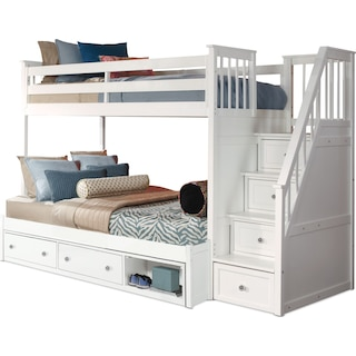 Flynn Twin over Full Storage Bunk Bed with Storage Stairs  - White