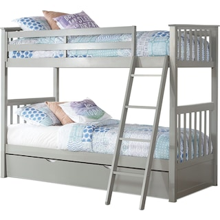Flynn Twin over Twin Trundle Bunk Bed - Gray