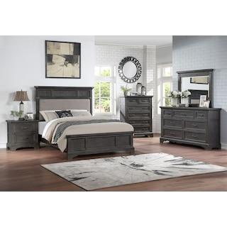 Victor 5-Piece Panel Bedroom Set with Dresser and Mirror